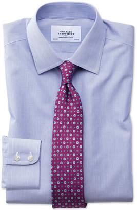 Charles Tyrwhitt Slim Fit Non-Iron Hairline Stripe Royal Blue Cotton Dress Shirt Single Cuff Size 16.5/36