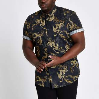 Mens Big and Tall slim fit dragon print shirt