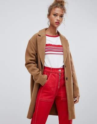 Pull&Bear button front coat in tan