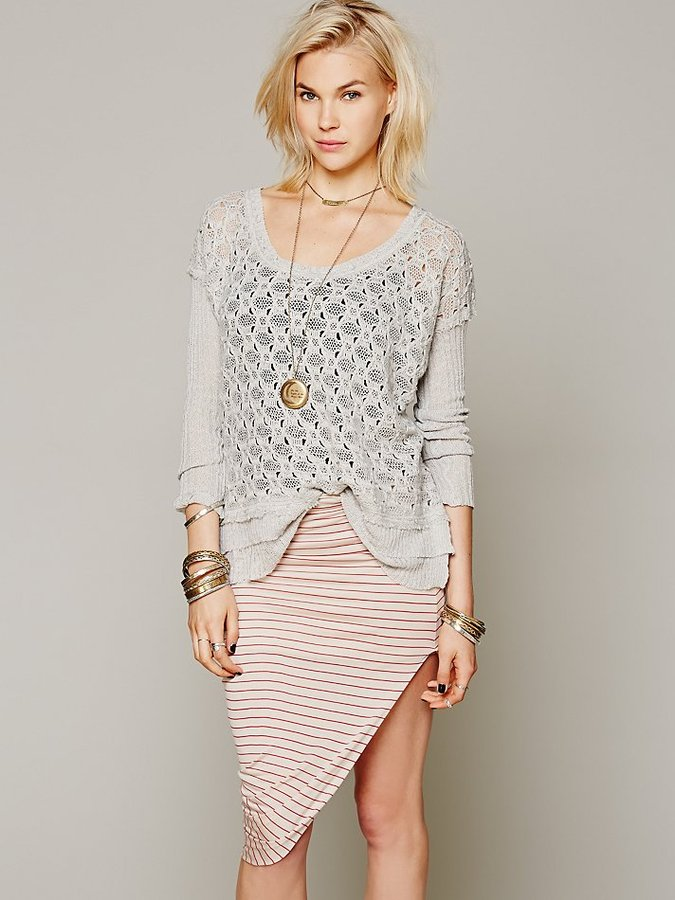 Free People Bella Luxx Jersey Asymmetrical Drape Skirt