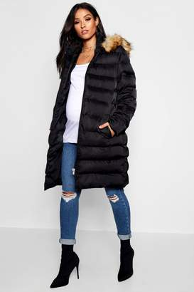 boohoo Maternity Padded Belted Faux Fur Trim Coat
