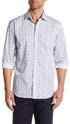 Bristol & Bull Long Sleeve Floral Print Classic Fit Sport Shirt