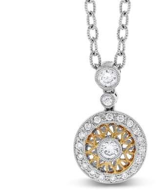 0.35 Ct. Natural Diamond Halo Filigree Mosaic Design Pendant In Solid 18k White/ Yellow Gold