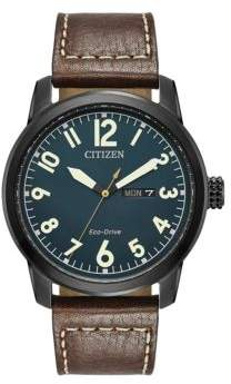 Citizen Eco-Drive Leather Strap Analog Chronograph Watch