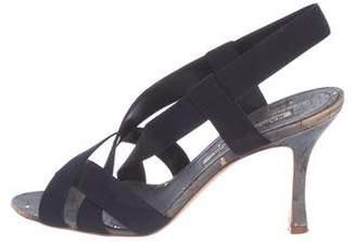Manolo Blahnik Peep-Toe Strap Sandals