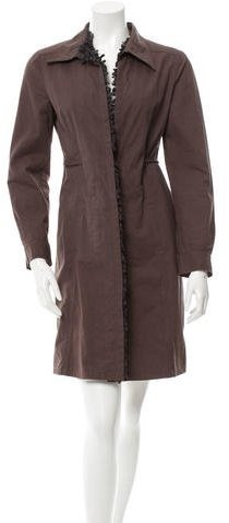 Miu Miu Miu Miu Knee-Length Fringe-Trimmed Coat