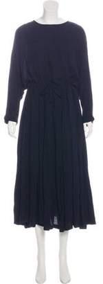 Black Crane Long Sleeve Maxi Dress