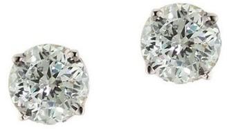 Diamonique 1.00 ct tw 100-Facet Stud Earrings,1 4K Gold