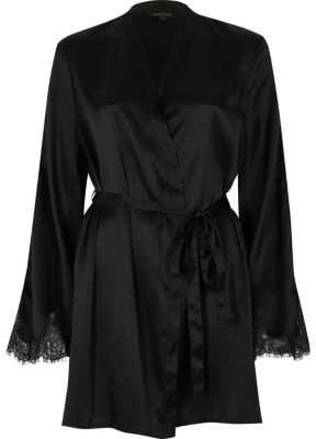 River Island River Island Womens Black satin lace sleeve robe