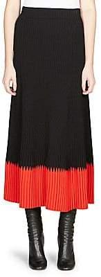 Alexander McQueen Women's Pleated Colorblock Midi Skirt