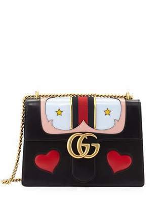 Gucci GG Marmont Medium Web Heart Shoulder Bag, Black/Multi $3,800 thestylecure.com