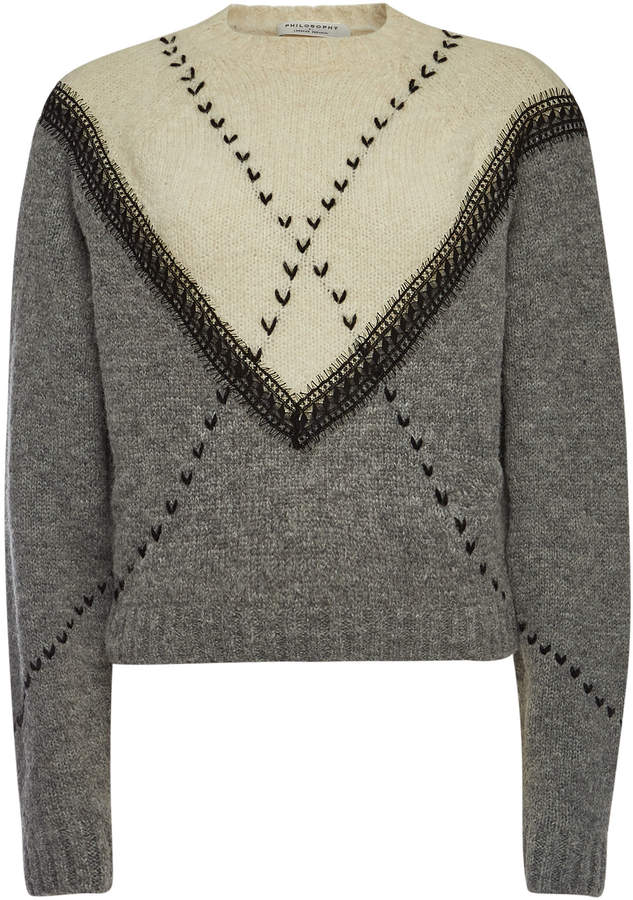 Embroidered Pullover with Alpaca and Wool