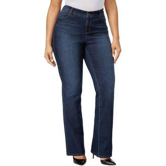 Style&Co. Style & Co. Womens Plus Slimming Dark Wash Bootcut Jeans Blue