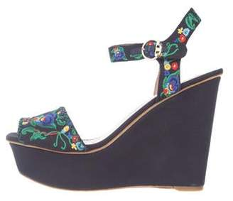 Tory Burch Floral Platform Wedges