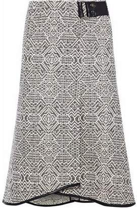 Roland Mouret Flitter Fluted Leather-trimmed Tweed Skirt