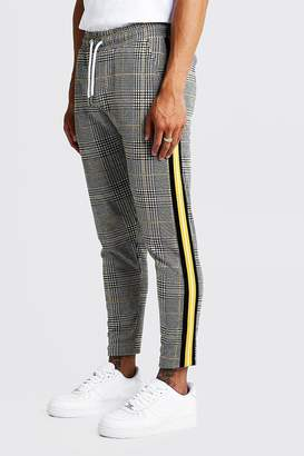 boohoo Houndstooth Check Taped Cropped Smart Jogger