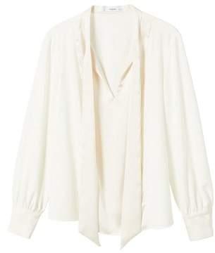 MANGO Bow satin blouse
