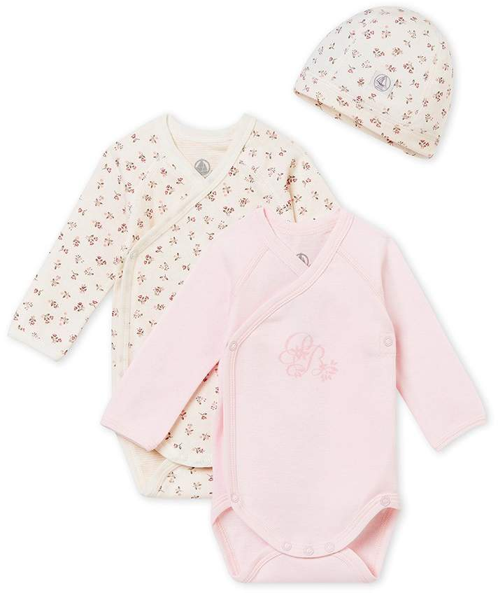 Petit Bateau A NEWBORN'S GIFT SET WITH TWO LONG SLEEVED ONESIES AND A BEANIE