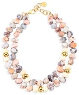 Nest Natural Pink Botswana Agate and Bone Necklace