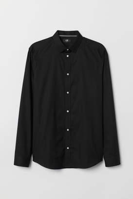 H&M Slim Fit Cotton Shirt - Black