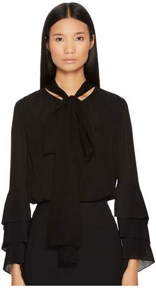 Prabal Gurung Chiffon Long Sleeve Blouse Women's Blouse
