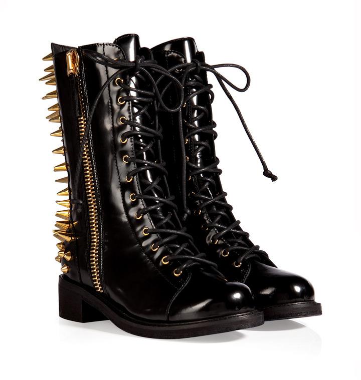Giuseppe Zanotti Studded Boxcalf Boots in Black