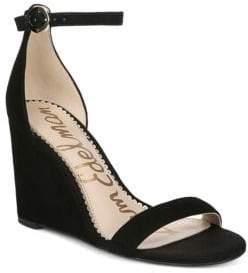 Sam Edelman Women's Neesa Suede Ankle-Strap Wedge Heels - Black - Size 10