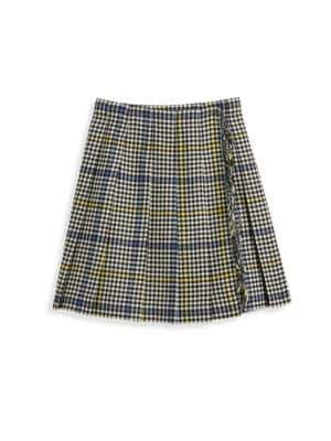Burberry Little Girl's& Girl's Klorrian Fringed Houndstooth Wool Skirt