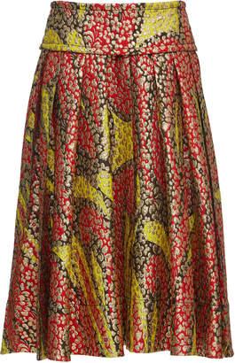 Marni Pleated Metallic Woven Skirt