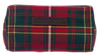 Burberry Leather-Trimmed Plaid Zip Pouch