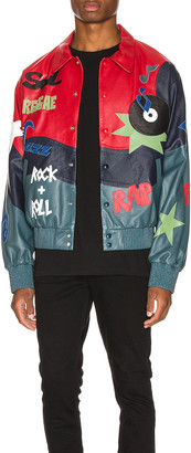Just Don The Sound Leather Jacket in Red Color Block | FWRD