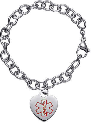 JCPenney FINE JEWELRY Personalized Stainless Steel Medical Heart Bracelet