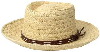 San Diego Hat Company Raffia Gambler w/ Faux Leather Band Caps