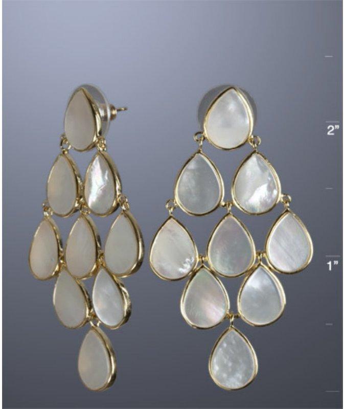 Jardin grey MOP pear diamond post earrings
