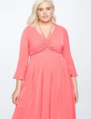 ELOQUII Flare Sleeve Dress with Halter Detail