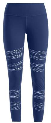 Track & Bliss - Go With The Flow Laser Cut Leggings - Womens - Blue