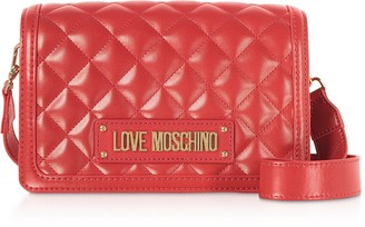 Love Moschino Quilted Eco-leather Signature Crossbody Bag