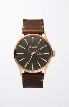Nixon Sentry Leather Rose Gold & Brown Watch
