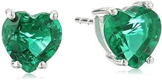 Created Emerald Heart-Shaped Stud Earrings in 10k Gold