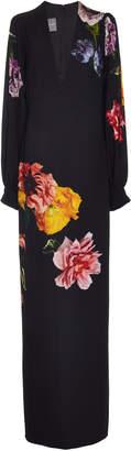 Monique Lhuillier Floral-Print Crepe Gown