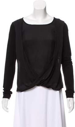 Halston Drape-Accented Long Sleeve Top