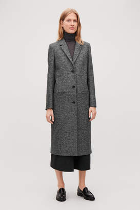 Cos LONG HERRINGBONE WOOL COAT