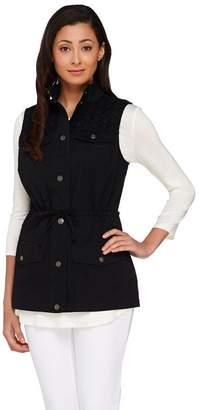 Liz Claiborne New York Snap Front Vest with Eyelet Details