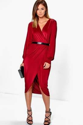 boohoo Ruby Slinky Split Sleeve Wrap Over Midi Dress