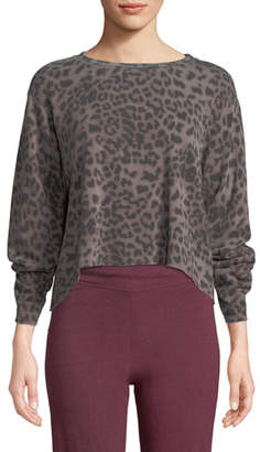 Sundry Raw-Edge Boxy Animal-Print Pullover Sweater