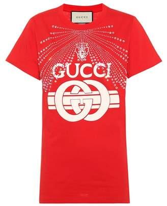 Gucci Embellished cotton logo T-shirt
