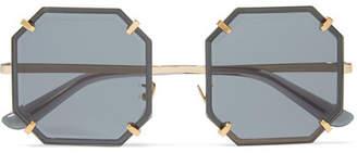 Dolce & Gabbana Square-frame Gold-tone Sunglasses - Black