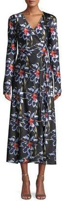 Diane von Furstenberg Tilly Long-Sleeve Floral Silk Wrap Dress