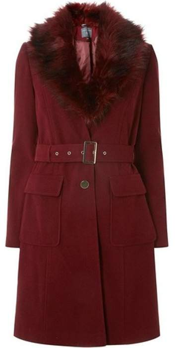 Womens **Tall Berry Faux Fur Belted Coat