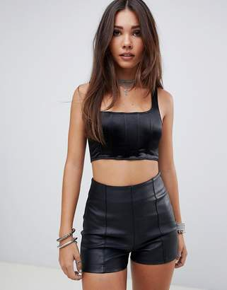 Motel boned crop top in satin